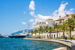 Montenegro. Embankment of Tivat city. View of Porto Montenegro Village. Montenegro. Embankment of Tivat city. View of Porto Montenegro Village. A small European stock photos