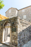 Montenegro: Entrance to the museum in the old Budva stock photography
