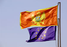 Montenegro and EU. Montenegrian flag and flag of the EU Stock Photos