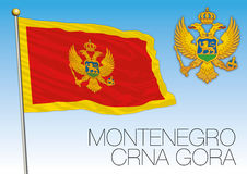 Montenegro flag and coat of arms Stock Image