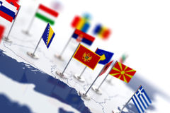 Montenegro flag in the focus. Europe map with countries flags Stock Photos