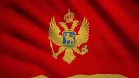 Montenegro flag Motion video waving in wind. Flag Closeup 1080p HD  footage