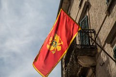 Montenegro Flag Over Kotor Royalty Free Stock Photography