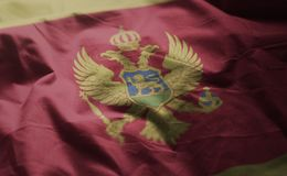 Montenegro Flag Rumpled Close Up stock photography