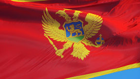 Montenegro flag in slow motion seamlessly looped with alpha