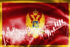 Montenegro flag, stock market, exchange economy and Trade, oil production, container ship in export and import business and. Logistics, balkans, background vector illustration