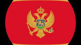 Montenegro Flag Transition 4K. Smooth and Elegant flag animation with alpha matte. Great 2D look that is perfect for any kind of videos dealing with a world view stock illustration