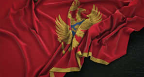 Montenegro Flag Wrinkled On Dark Background 3D Render vector illustration
