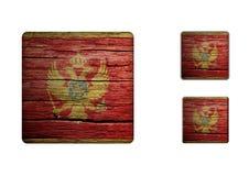 Montenegro flaggaknappar Arkivfoton