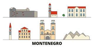 Montenegro flat landmarks vector illustration. Montenegro line city with famous travel sights, skyline, design. Montenegro flat landmarks vector illustration vector illustration