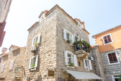 Montenegro: Flower balcony in the old Budva Royalty Free Stock Photography