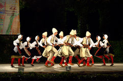 Montenegro  folk dancers  at the stage Stock Photos