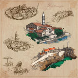 Montenegro. Hand drawn vector pack. Royalty Free Stock Photo