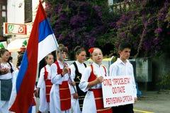 Montenegro, Herceg-Nov. - 28/05/2016: Kinderen van Servisch folkloreensemble Prosvjete Royalty-vrije Stock Foto's