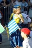 Montenegro Herceg Novi - 04/06/2016: Flicka i Bosnien och Hercegovina den nationella dräkten Royaltyfri Fotografi