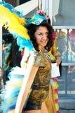 Montenegro Herceg Novi - 04/06/2016: Flicka i karnevaldräkten av dansklubban Diano Arkivbilder