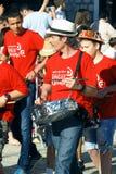 Montenegro Herceg Novi - 04/06/2016: Grupp av musiker på karnevalet Royaltyfri Bild