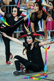 Montenegro Herceg Novi - 04/06/2016: Grupp av roliga clowner från Slovenien Royaltyfria Bilder