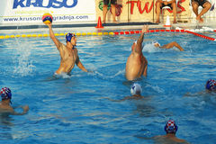 Montenegro, Herceg Novi - 23/06/2016: The match between the water polo teams of the two countries: Hungary and Croatia Royalty Free Stock Photography