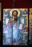 Montenegro, Herceg Novi - 30/09/2015: O ícone de Cristo no iconostasis em uma igreja pequena da suposição de Mary Imagens de Stock