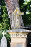 Montenegro, Herceg Novi - 30/09/2015: Old gravestone cross in the churchyard. Royalty Free Stock Photo