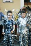 Montenegro Herceg Novi - 04/06/2016: Pojkar klär upp stjärnakrigare Royaltyfri Bild
