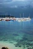 Montenegro, Herceg Novi - 17 05 2016: Widok w pogodzie sztormowej na łodzi w porcie Obraz Royalty Free