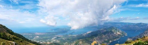 Montenegro, het Adriatische Overzees, Panorama, de Baai van Kotor Stock Foto's