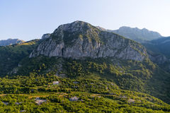 Montenegro house in the mountains - aerial Stock Photo