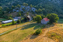 Montenegro house in the mountains - aerial Stock Photos