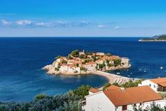 Montenegro, Insel St. Stefan, adriatisches Meer Lizenzfreie Stockfotografie
