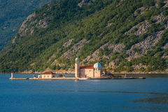 Montenegro island with ancient monastery Our Lady Stock Photography