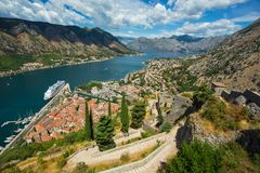 Top view of the Bay of Kotor and the old town. Europe. Montenegr Stock Photography