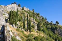 Montenegro, Kotor, antyczny forteca Fotografia Royalty Free