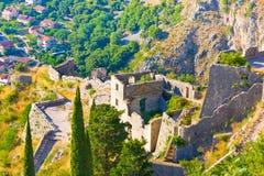 Montenegro, Kotor, antyczny forteca Zdjęcia Royalty Free