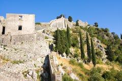 Montenegro, Kotor, antyczny forteca Fotografia Stock