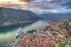 Montenegro, Kotor-baai, Kotor - oude stad, panorama royalty-vrije stock afbeelding