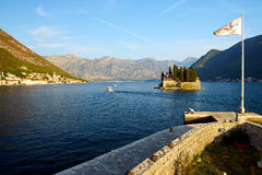 Montenegro, Kotor Bay, beautiful view. Montenegro, Kotor Bay, a beautiful view of the Bay of Kotor in the ancient church of the Holy Virgin island, sunset, early Stock Photos