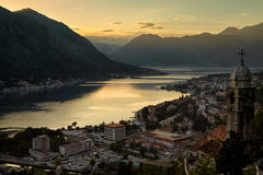 Montenegro Kotor bay sunset landscape summer travel destination, old town with church building panoramic view, Adriatic Stock Photo