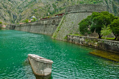 Montenegro Kotor city canal, Wall from old fortifications. In the mountain Royalty Free Stock Photography