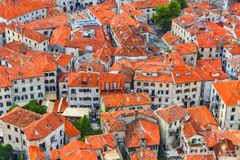 Montenegro Kotor dachów Cyfrowego obraz Fotografia Royalty Free