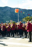 Montenegro, Kotor - 03/13/2016: Orkiestra wioska Djenovici przy karnawałem Zdjęcie Royalty Free