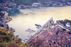 Montenegro Kotor zatoka Widok od fortecy na górze 2017 rok Fotografia od fortecy na górze Zdjęcie Royalty Free