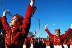 Montenegro, Kumbor - 02/06/2016: Parada majorettes Herceg Novi na 47 wakacje mimozy Zdjęcie Royalty Free