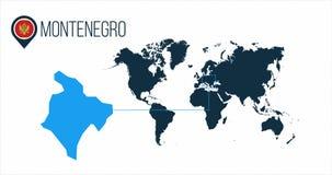 Montenegro läge på världskartan för infographics Alla världsländer utan namn Montenegro rundaflagga i översiktsstiftet eller royaltyfri illustrationer