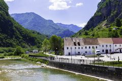 Montenegro landscape - the small town of Zabljak on the banks of a mountain river royalty free stock photos