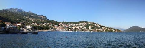 Montenegro. Looking to the Herzegnovi city. Montenegro. The Herzegnovi city on the mountain near the bay of Adriatic sea Royalty Free Stock Photo
