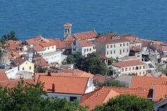 Montenegro. Looking to the Herzegnovi city. Montenegro. The Herzegnovi city on the mountain near the bay of Adriatic sea Royalty Free Stock Photos