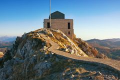 Montenegro, Lovcen National Park .  Mausoleum of Petar II Petrovic-Njegos. Montenegro, Lovcen National Park. Building of Mausoleum of Petar II Petrovic-Njegos Stock Image