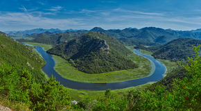 Montenegro Majestic Landscape - Rijeka Crnojevica river bending. In Skadar Lake National Park stock photos